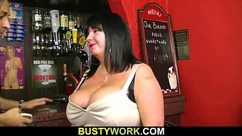 She offers her giant jugs and pussy to bar patron