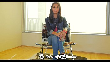 MyVeryFirstTime - Nervous Jade Jantzen has her first DP on camera thumbnail
