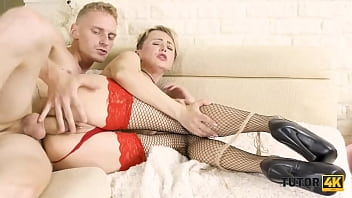 TUTOR4K. Tutor in fishnet stockings to have sex with mad student