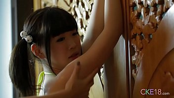 Tiny Japanese 18yo with pigtails rubbed and massaged
