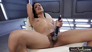 Pleasured ebony babe drilled by machine