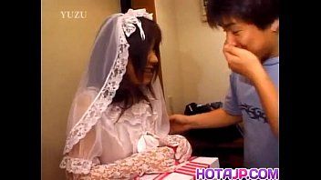 Asian invitation modern wedding Nami in wedding dress sucks cock