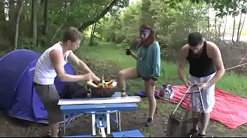 A girl fucked hard by two guys in a camping 37 min