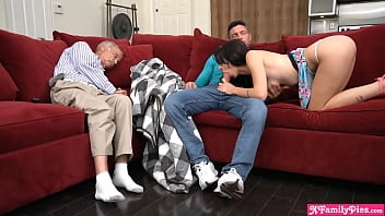 Stepsiblings dont want to wake up grandpa but they are horny