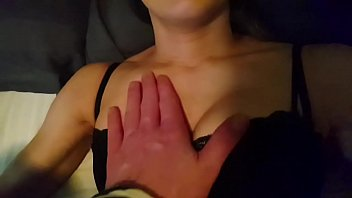 Couples delight, skinny big titted misses takes fat headed cock deep while wearing slutty red lipstick, choked,head over the bed cumshot in her mouth and on her tits