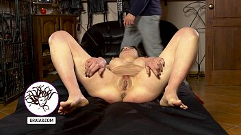 Natalie with new fake tits gets her pussy beaten