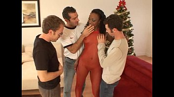 Ebony chick gets two white cocks dp