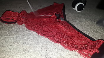 Cumming on my Indian Mom's Lacy Red Panties