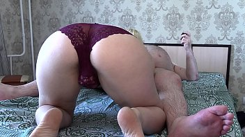 Passionate blowjob of an unusual couple. Girlfriend with hairy ass in panties sucks my dick. Homemade oral caresses.