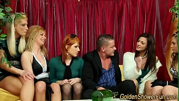 Bizarre ginger pissed on mistress and two slaves