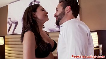 Footworshiped eurobabe banged by her lover