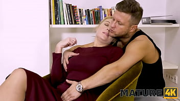 MATURE4K. Admirable twosome of guy and his mature maid by the fireplace