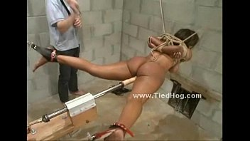 Extreme forced naked Nasty mistress with ponytail slapping naked sex slave tied like a hog in ropes