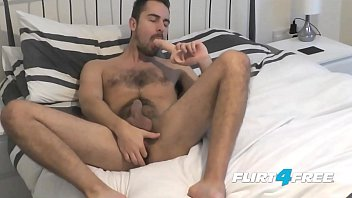 Bearded Flirt4Free Hunk Antonio West Blows a Big Load on His Hairy Abs
