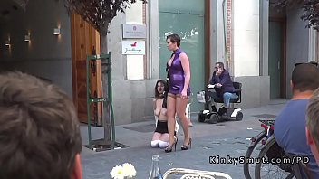 Bdsm slut walked naked in public