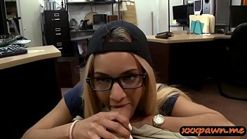 Slim babe with glasses boned by pawn man