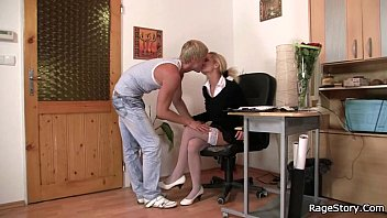 Blonde Bitch In White Stockings Deepthroat Fucked