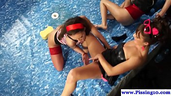 Stockinged piss lesbians in group pussylick