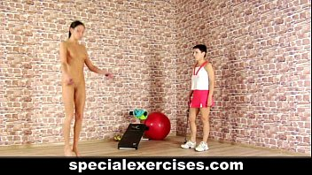 Special nude training for skinny teen girl