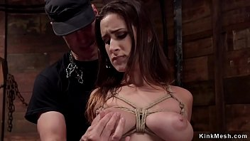 Natural busty slave tied and whipped