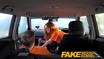 Fake Driving School Swotty ginger student has pussy filled with cum 13 min