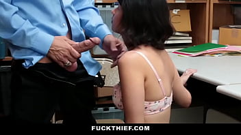 Sexy Teen Blackmailed By Mall Cop for Sex