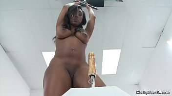 Shaved and pierced pussy ebony solo babe with big ass fucks machine and screams in various positions