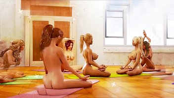 Big tits lesbian futa beauties enjoying yoga tantric sex in a cool animation