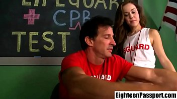 Teen student Emily fucked by lifeguard