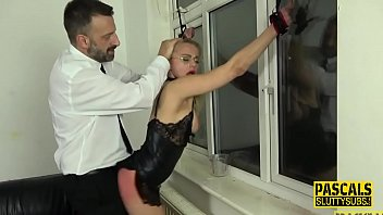 Bound blonde milf sub gets pounded