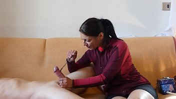 Ticklish hand job with bird feather and brush until his balls are emptied