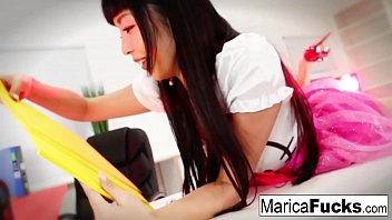 Sexy Asian Marica Hase uses a glass toy on her wet pussy
