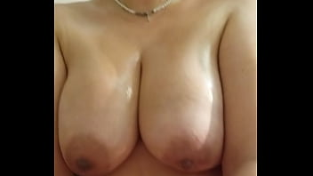 Horny Nicky Riding POV with Her Big Fat Oiled Tits