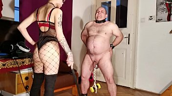 Goth domina painful CBT &amp_ bellypunch her fat slave pt2 HD