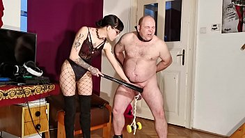 Goth domina painful CBT & bellypunch her fat slave pt2 HD