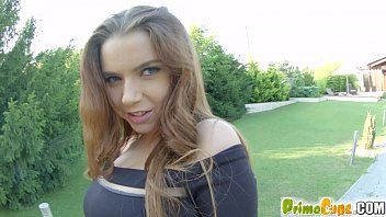 Primecups busty babe practices tit wanks outside Marina Visconti thumbnail