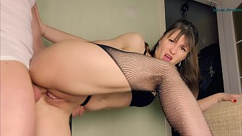 Girl in Mesh Tights Blowjob and Passionate Doggystyle Fuck