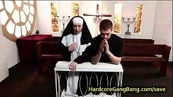 Nun fucking orgies Blonde nun gangbang fucked by five dicks
