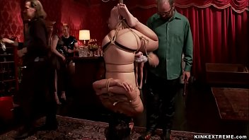 Busty bound slave anal fucked at party