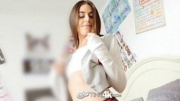 Tiny4k Brunette student Arielle Faye fits huge dick in her tiny pussy