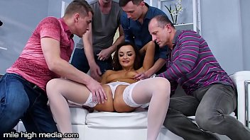 MileHigh Caught Masturbating by 4 Studs Who Fill All her Holes!