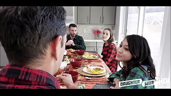 The negative of teen depression Two hot teen daughters jasmine grey and naomi blue decide to swap fuck each others depressed dads during thanksgiving dinner