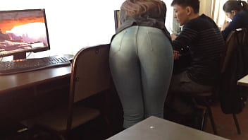 Ass in jeans doggy style in the office