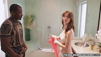 Nerdy babe Jay Taylor strips for black cock in shower