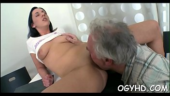 Young babe sucks and rides old dick