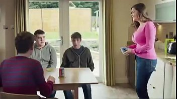 Mom Shows Of Her New Push Up Bra To Her Son's Friends(