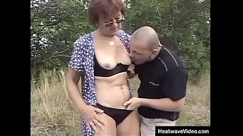 Grandma getting brutally screwed by the muscular young stud on a picnic