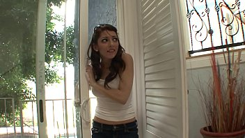 Small tits brunette MILF gets fucked really rough and hard by her landlord
