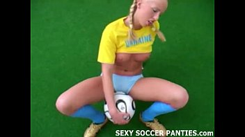 Soccer strip nude Blonde ukranian soccer hottie grinding on the ball