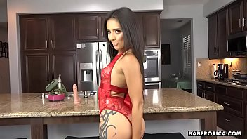 Girl in erotic, red lingerie, Jynx Maze masturbates in 4K